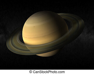Saturn planet - 3d rendering of the planet saturn
