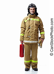 Firefighter extinguisher on a white background
