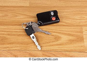 Closeup of car keys.