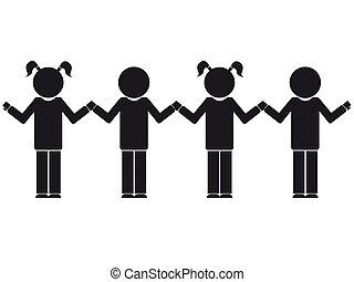 childrens silhouette - vector illustration of children...