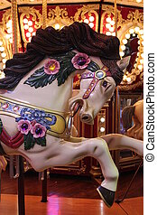 Vintage Carousel Horse - Horse on a vintage carousel ride at...