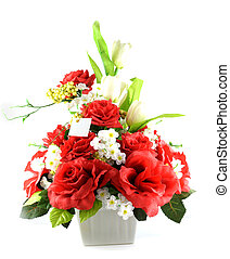 Multicolored flowers in a vase, isolated on white background...