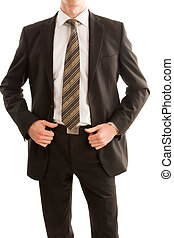 Business man holding his suit jacket isolated on white