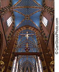 Krakow - Church of St Mary - Poland - Interior of the Church...