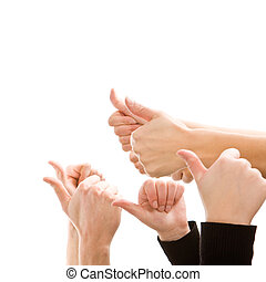 human hands showing thumbs up isolated on white