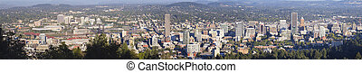 Portland Oregon Downtown Cityscape Panorama - Portland...