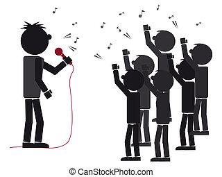 rockstar singing - illustration of a rockstar singing