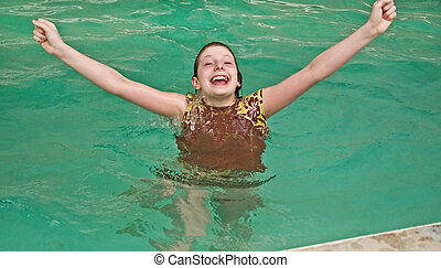 Happy Confident 10 Year Old Girl in Pool - This happy and...