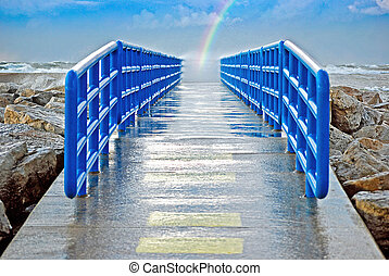 rainbow at the end of pier - Wet pier with rainbow.