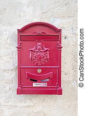 vindima, vermelho, metal, correio, caixa