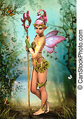 Fairy with Staff, 3d Computer Graphics - 3D computer...