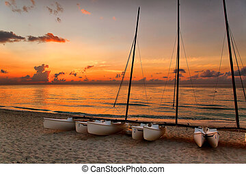catamarans, Varadero's, beach, sunset, Cuba
