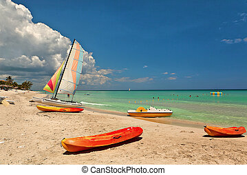 Kayaks and catamarans at the beautiful beach of Varadero in...