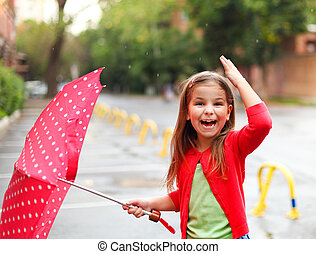 little girl under the rain