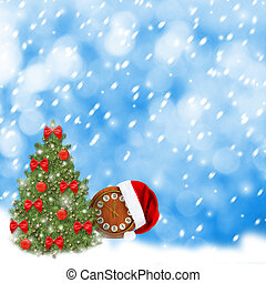 Santa Claus hat, clock and Christmas tree Christmas snowy...