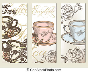 Brochure vector set with vintage cu - Vector set of...