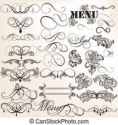 Vector set of calligraphic elements for design. Calligraphic...