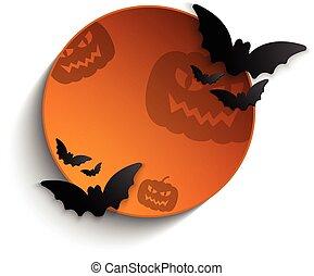 Halloween Bat Circle Frame Pumpkin Background Vector