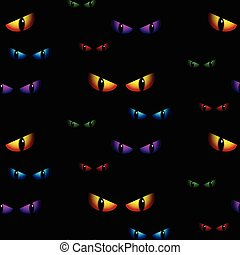 Halloween Ghost Eyes Seamless Background Vector - Halloween...