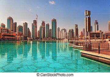 dubaï, UAE, -, outubro, 23:, modernos, arranha-céus, dubaï,...