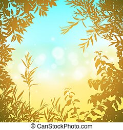 Floral Background - A Floral Border with Leaves and Glowing...