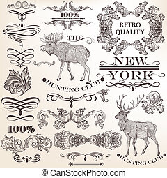 Set of vector vintage decorative elements for design -...