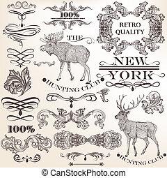 Set of vector vintage decorative elements for design -...