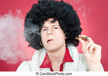 pimp - Arrogantly looking man, wearing a wig and smoking a...