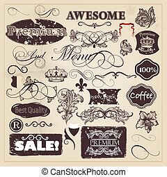 Vector set of vintage decorative ca - Vector set of...