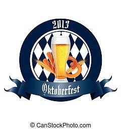 beer and pretzel - abstract beer, bread and pretzel label on...