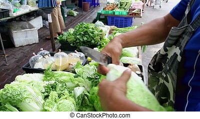 Vegetable shop at fresh public market community in Bangkok,...