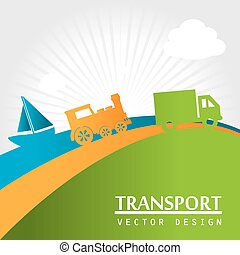 transport icons over lanscape background vector illustration