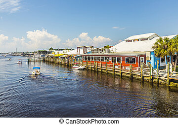 old city dock in tropical Naples Florida - old city dock in...