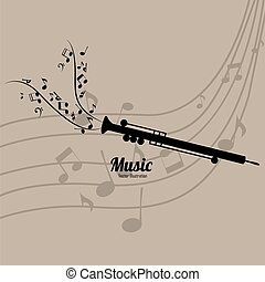 flute - abstract flute silhouette on light brown background