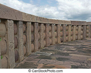 Sanchi - Curved Compound wall of Sanchi Stupa two, Sanchi,...