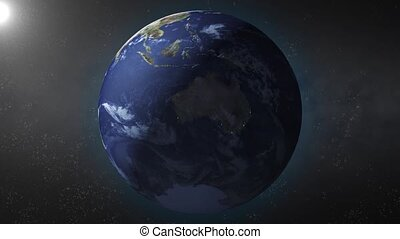 Earth zooms in on Australia - Earth animation zooms in on...