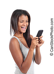 Beautiful woman happy with her smart phone isolated on a...