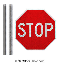 Stop sign with metal bar isolated on white (with clipping...