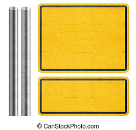 Yellow Sign - Blank Yellow Sign with metal bar, isolated in...