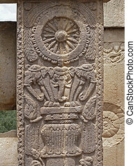 Sanchi - Carving on Compound wall of Sanchi Stupa two,...