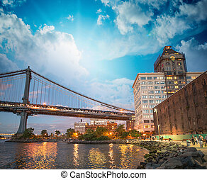 Wonderful view of Manhattan Bridge from Brooklyn Bridge Park...