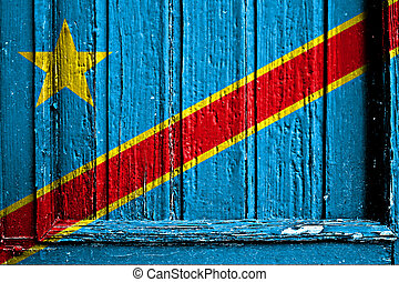 flag of Kongo Kinshasa painted on wooden frame