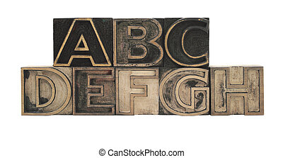 outline letters in wood A-H - old, ink-stained letterpress,...