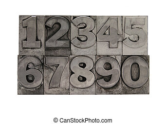 metal type numbers - numbers in letterpress lead type