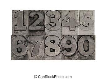 metal type numbers - numbers in letterpress lead type