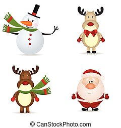 christmas icons - snowman, reindeer and santa claus icons on...