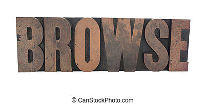 browse in old wood type