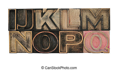 outline letters in wood I-Q - wood, type, typesetting,...