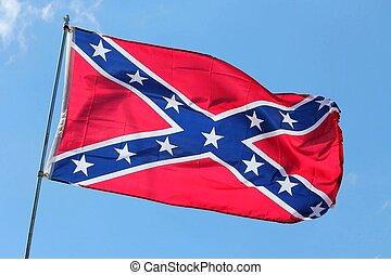 confederate flag against a blue sky