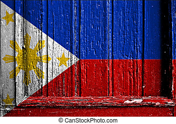 flag of Phillippines painted on wooden frame